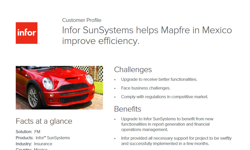 Infor SunSystems and insurance customer case study