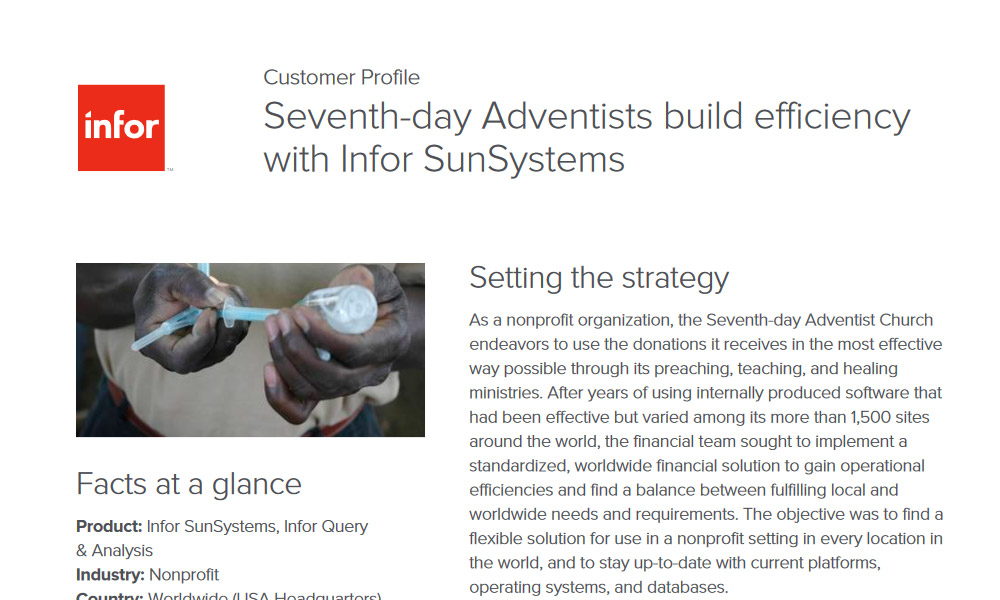 Infor SunSystems and NGO customer case study