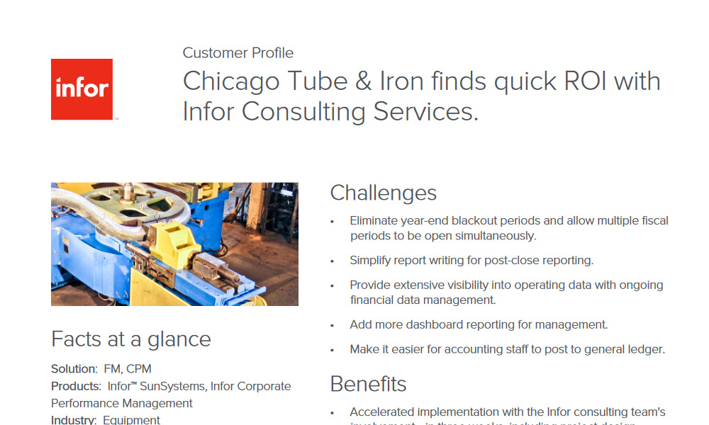 Infor SunSystem and d/epm customer profile case study