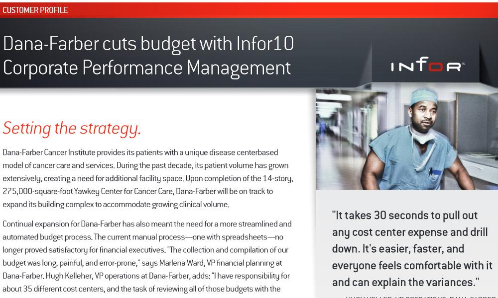 Infor Dynamic Enterprise Performance Management case study