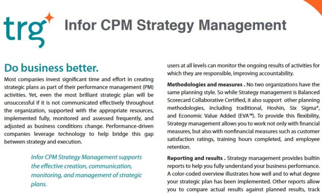 TRG Enterprise Performance Management solutions
