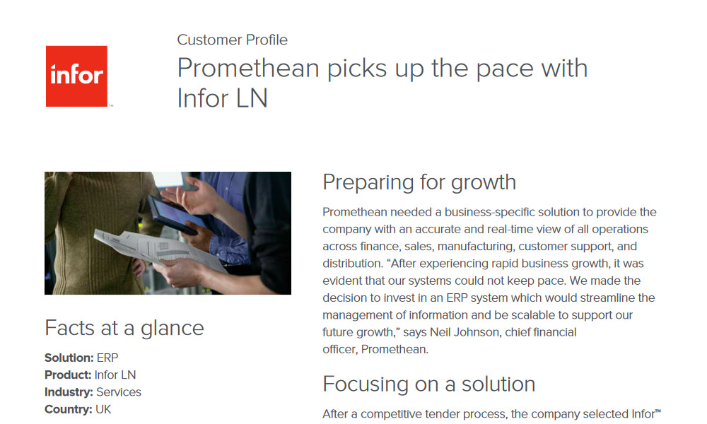 Infor ERP in services industry case study
