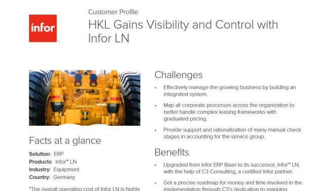 Infor ERP in manufacturing case study