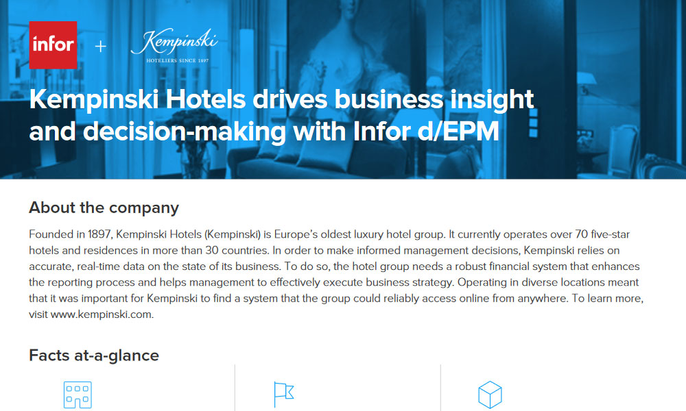 Infor d/epm application in hospitality business case study